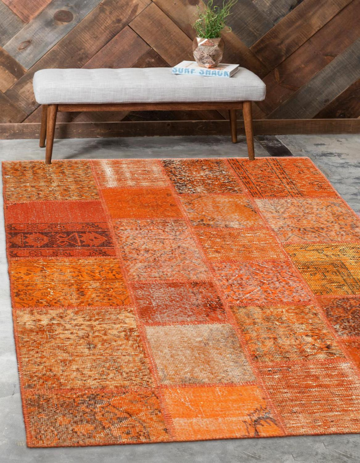 Else Orange Anatolian Patchwork Rug Turkish Handmade Organic Area Rug Decorative Home Decor Wool Patchwork Rug Carpet