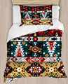 Autre jaune vert rouge aztèque bohème ethnique 4 pièces impression 3D coton Satin unique housse de couette ensemble de literie taie d'oreiller drap de lit