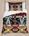 Else amarillo verde rojo azteca bohemio étnico de 4 piezas 3D de algodón de satén de una sola funda de edredón juego de cama funda de almohada sábana