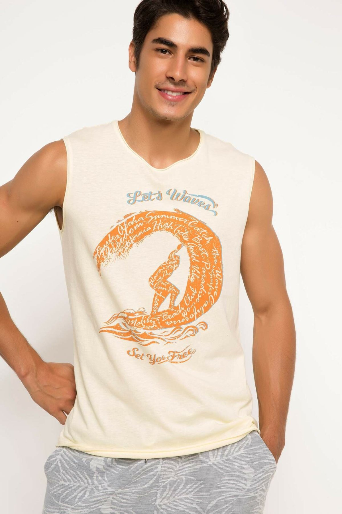 DeFacto Man Summer Sleeveless Top Tees Male Athlete Beige Color Undershirts Men's Casual Letter Prints Tops-H0098AZ17SM