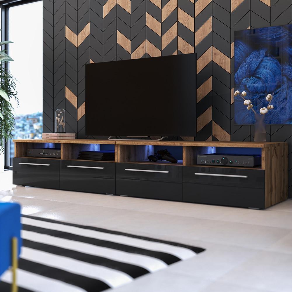 Selsey PHIRIS DOUBLE - Meuble tv / Banc tv (2x100 cm, chêne wotan / noir brillant, éclairage LED)