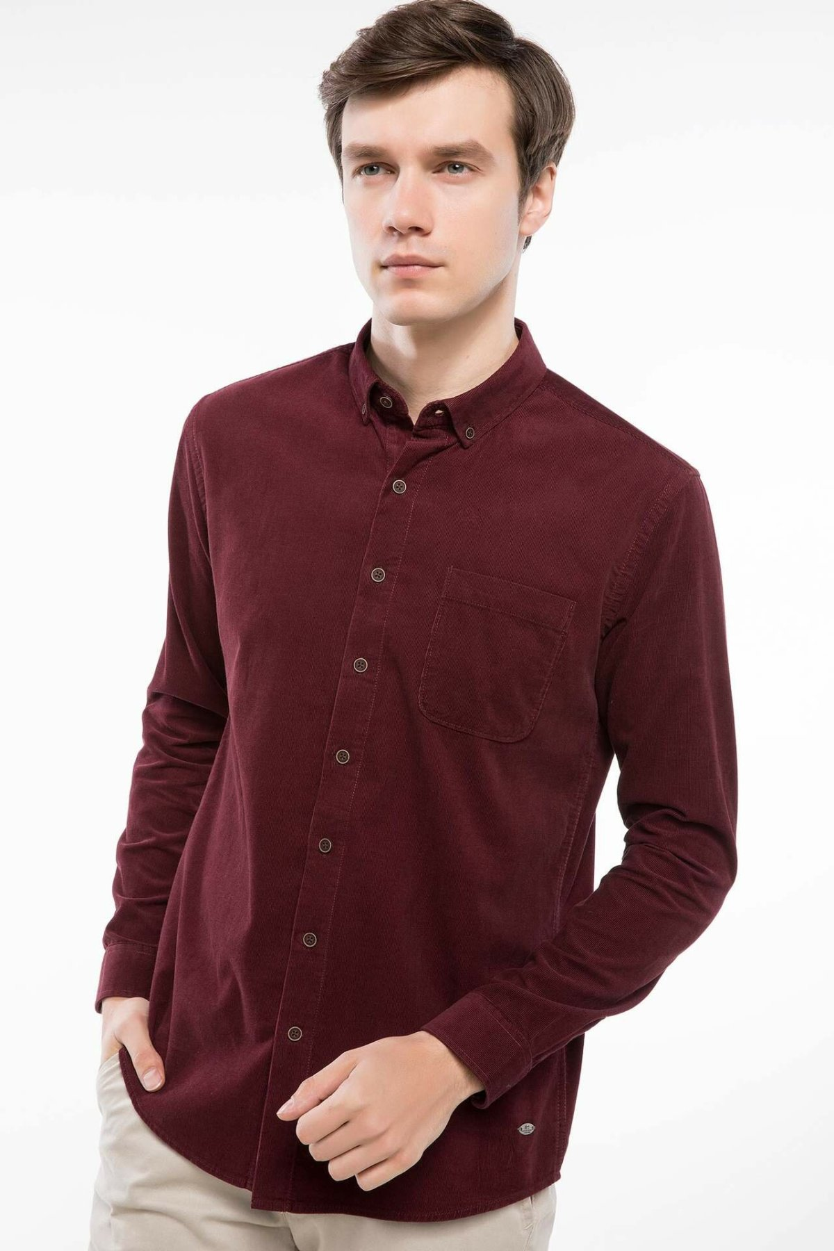 DeFacto Men Autumn Solid Color Cotton Shirt All Match Long Sleeve Male Pocket Retro Blouse Shirt-J1153AZ18WN