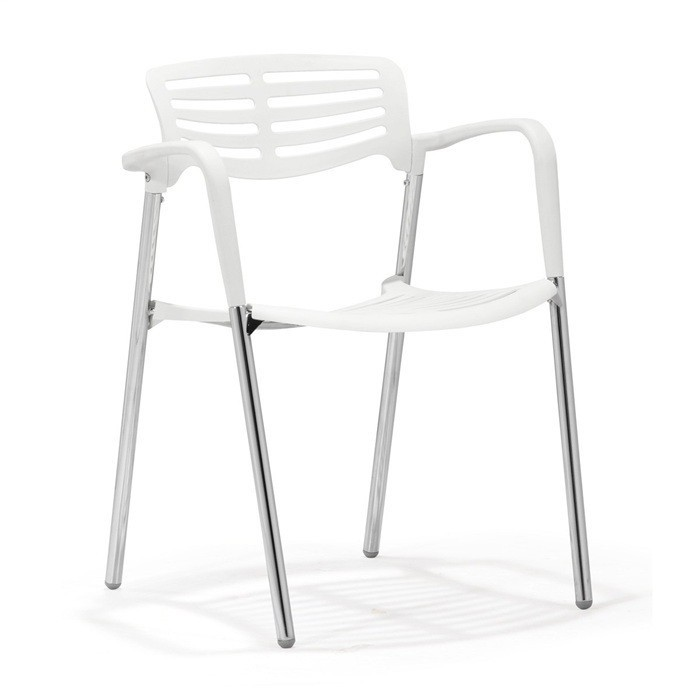 Armchair ALBENIZ, Plating, White Polypropylene