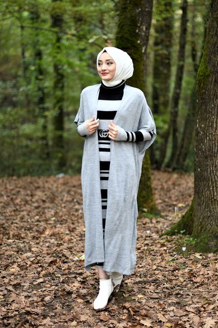 2 Pieces Striped Women's Set, Maxi Dress and Cardigan 4