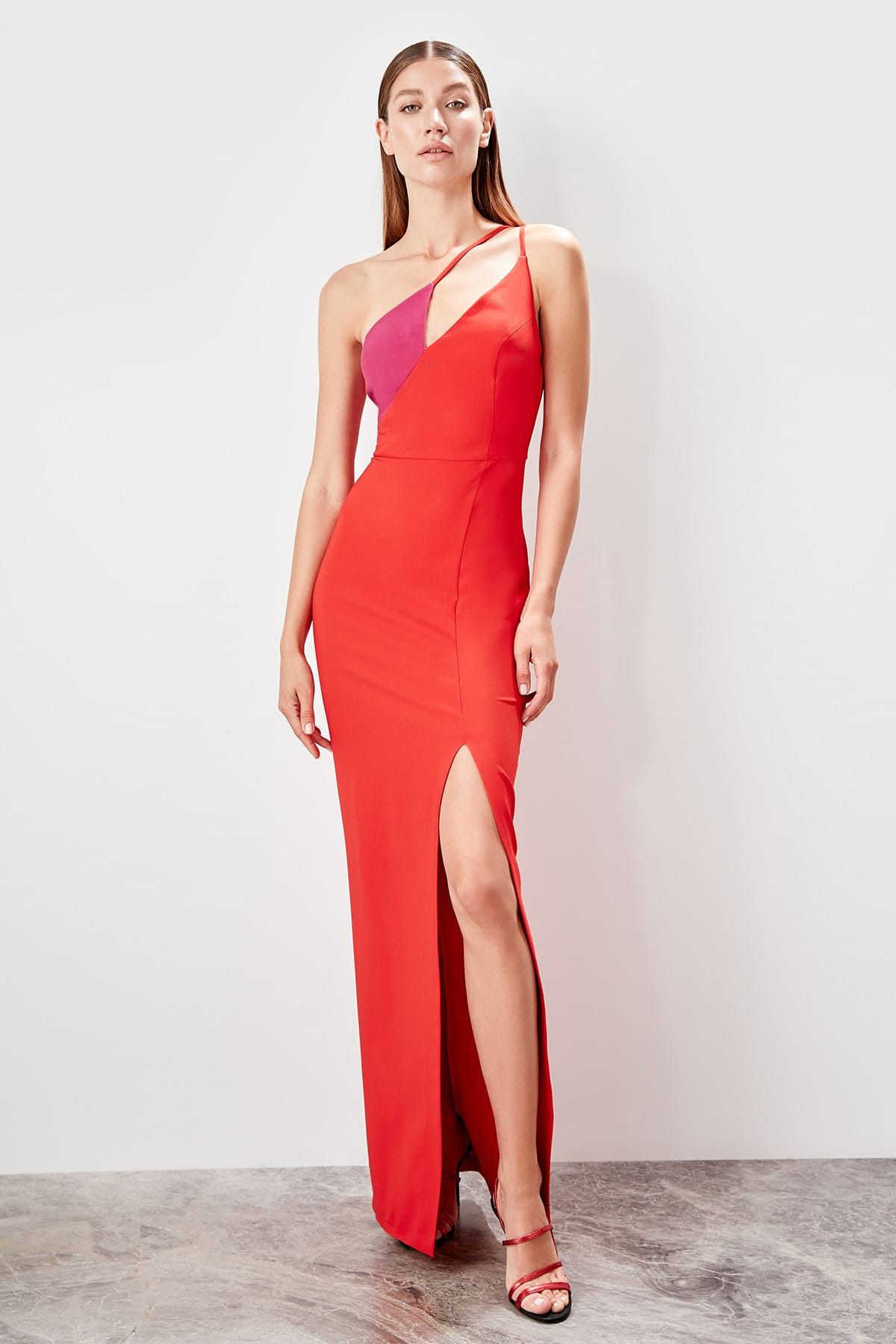 Trendyol With Color Block Evening Dress TPRSS19AE0088
