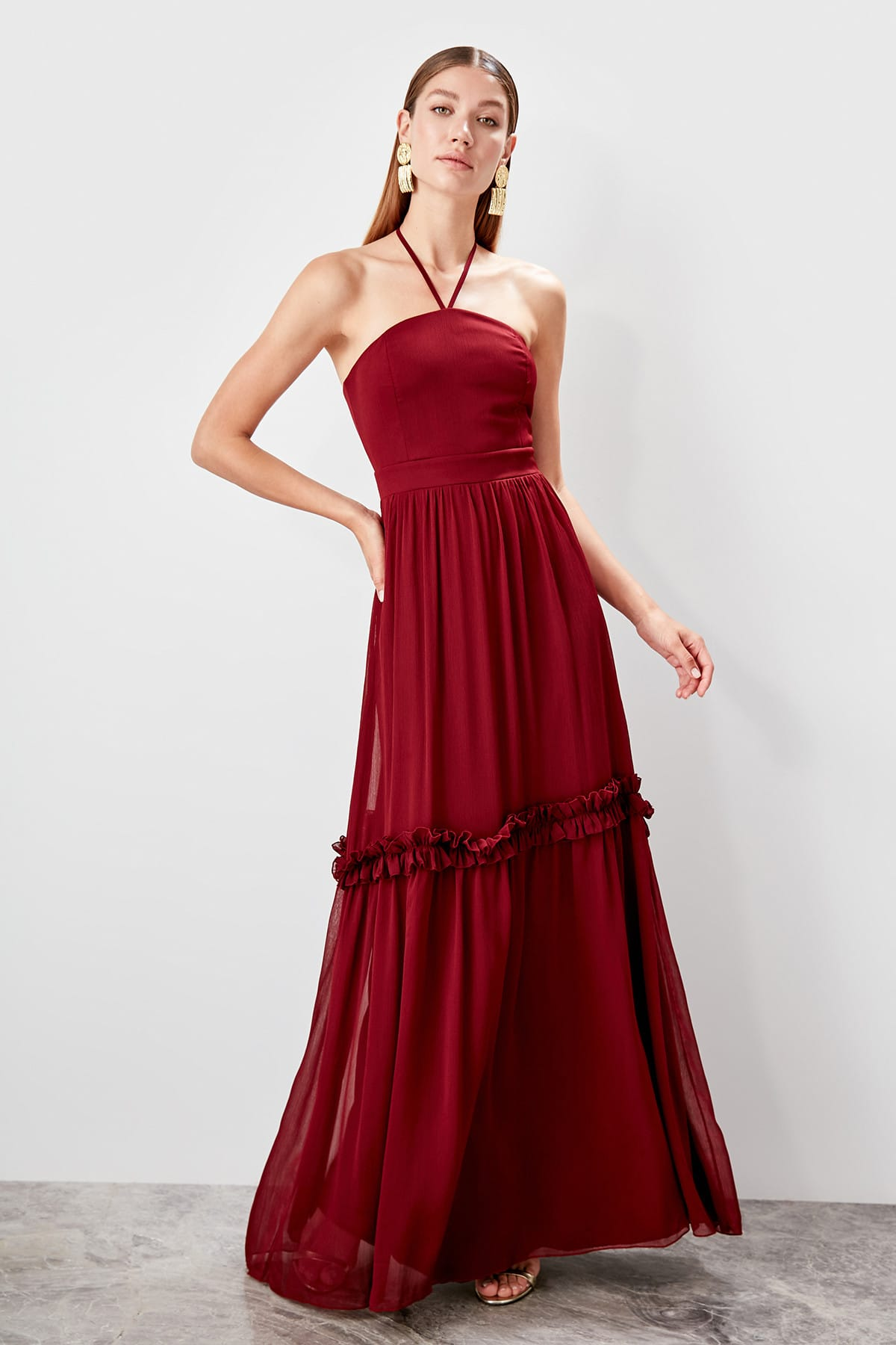 Trendyol Ruffle Detail Evening Dress TPRSS19FZ0453