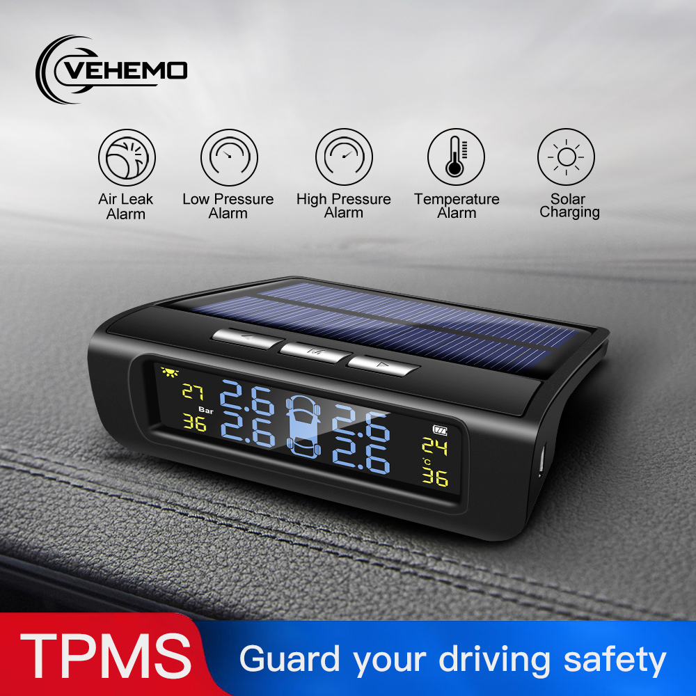 Tire Pressure Monitoring System 4PCS Sensor Car Tire Pressure Alarm TPMS Solar Energy Vehicles Windshield LCD Color Screen USB|Tire Pressure Alarm| |  - title=