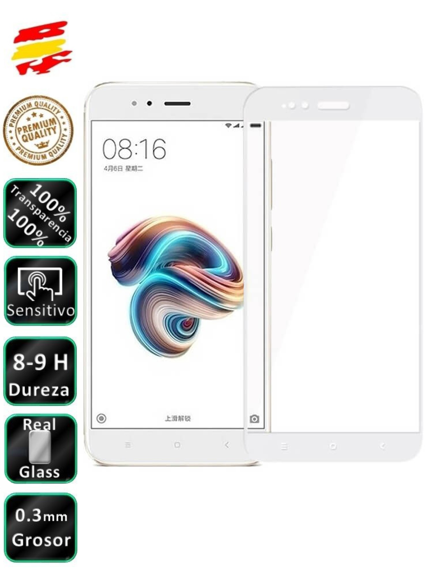 Protector Xiaomi MI A1 And 5X White 3D Full Screen Tempered Glass