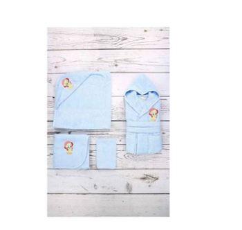 Özdilek Tweety Nak bambusowy szlafrok niemowlęcy zestaw 0-3 wiek niebieski 100 bawełna tanie i dobre opinie SULTAN RĘCZNIK KĄPIELOWY