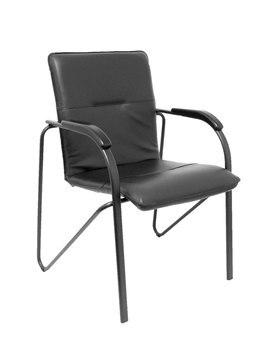 حزمة من 2 كراسي واثقة من 4 أرجل ، مع الأسلحة وهيكل أسود-مقعد ومسند ظهر نسيج وسادة similpie