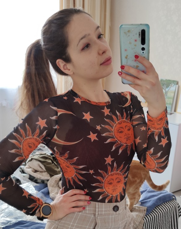 Transparent Mesh Shirt with Moon print photo review
