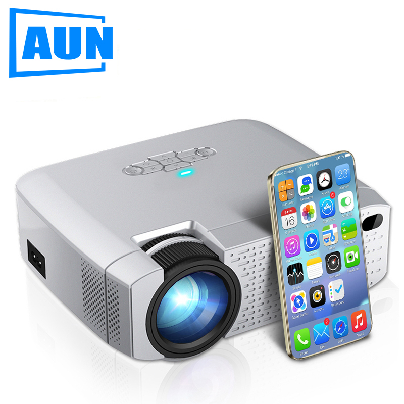AUN HA CONDOTTO il Mini Proiettore D40W, Video Beamer per la Casa Cinema.1600 Lumen, Supporto HD, senza fili Visualizzazione di Sincronizzazione Per iPhone/Android Phone title=