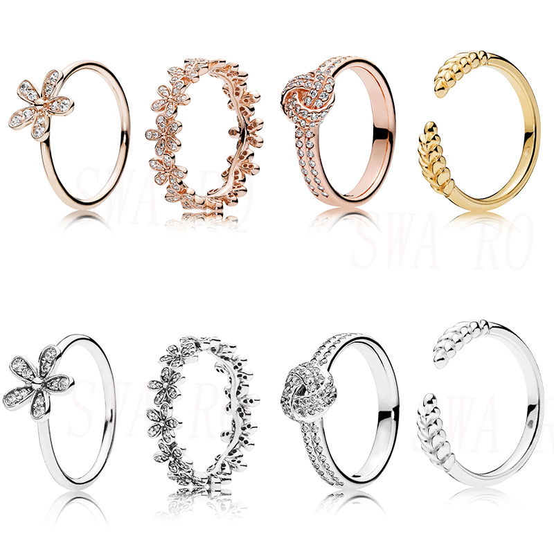 High Quality Fashion Silver 925 ROSE SPARKLING LOVE KNOT, SHINE OPEN GRAINS RING Original Woman Jewelry Birthday Engagement Gift