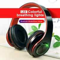 B39 Led Colorato Cuffia Portatile Pieghevole Built-in Fm Auricolari Cuffie Senza Fili di Bluetooth con Supporto Mic Carta di Tf Lettore Mp3