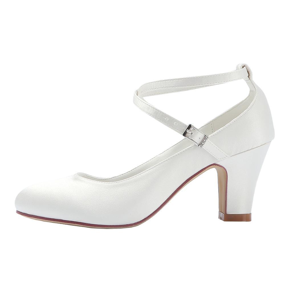 Tacón medio zapatos de boda marfil blanco Cruz tobillo Correa bloque tacones mujeres damas novia fiesta nupcial noche bombas marina HC1808-in Zapatos de tacón de mujer from zapatos    2