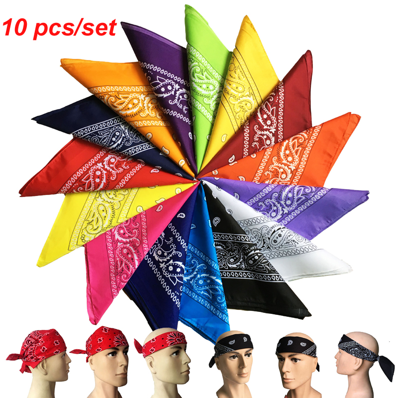 100% Cotton Fine Bandanas, Set 10 Packs, Multi-Purpose Bandana,Hair Covering,Headband And Necktie, Gifts Wrap,22