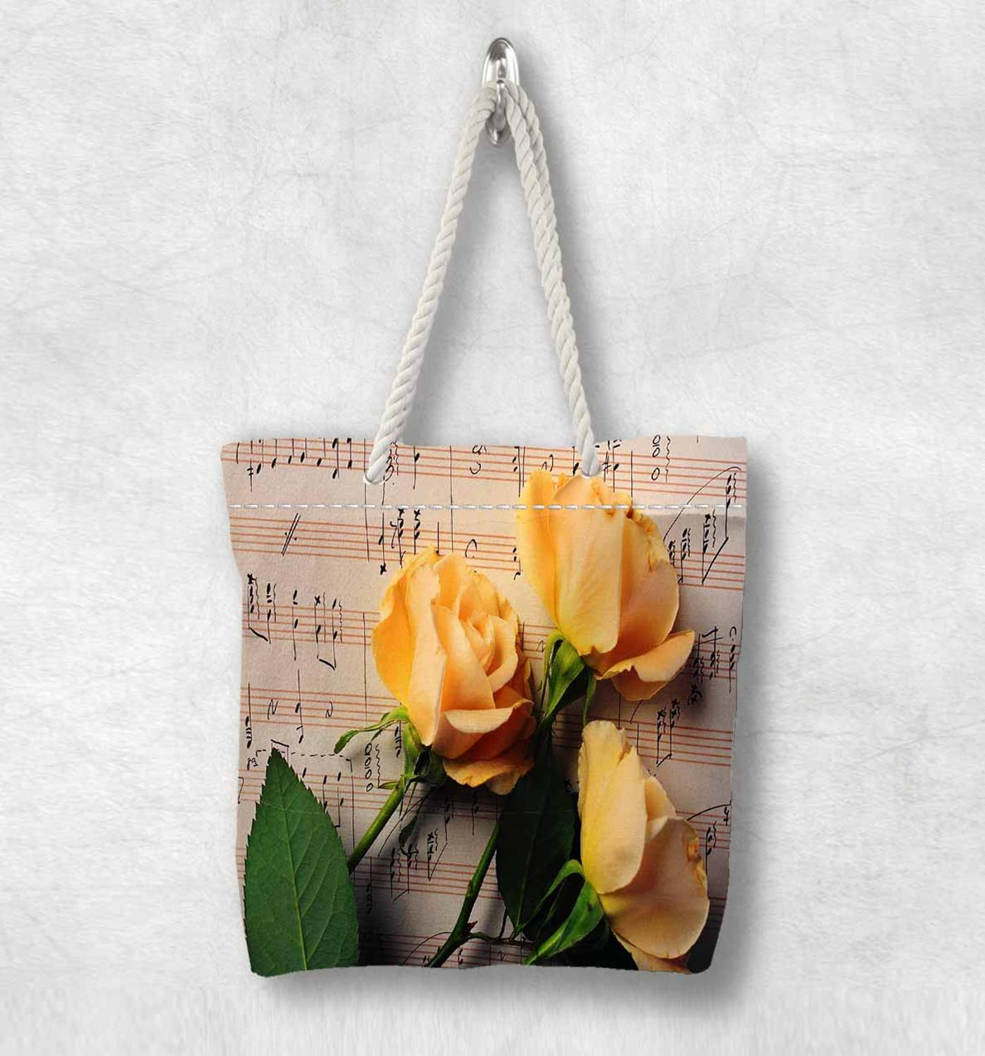 Else Brown Music Notes Yellow Roses Flower New Fashion White Rope Handle Canvas Bag Cotton Canvas Zippered Tote Bag Shoulder Bag