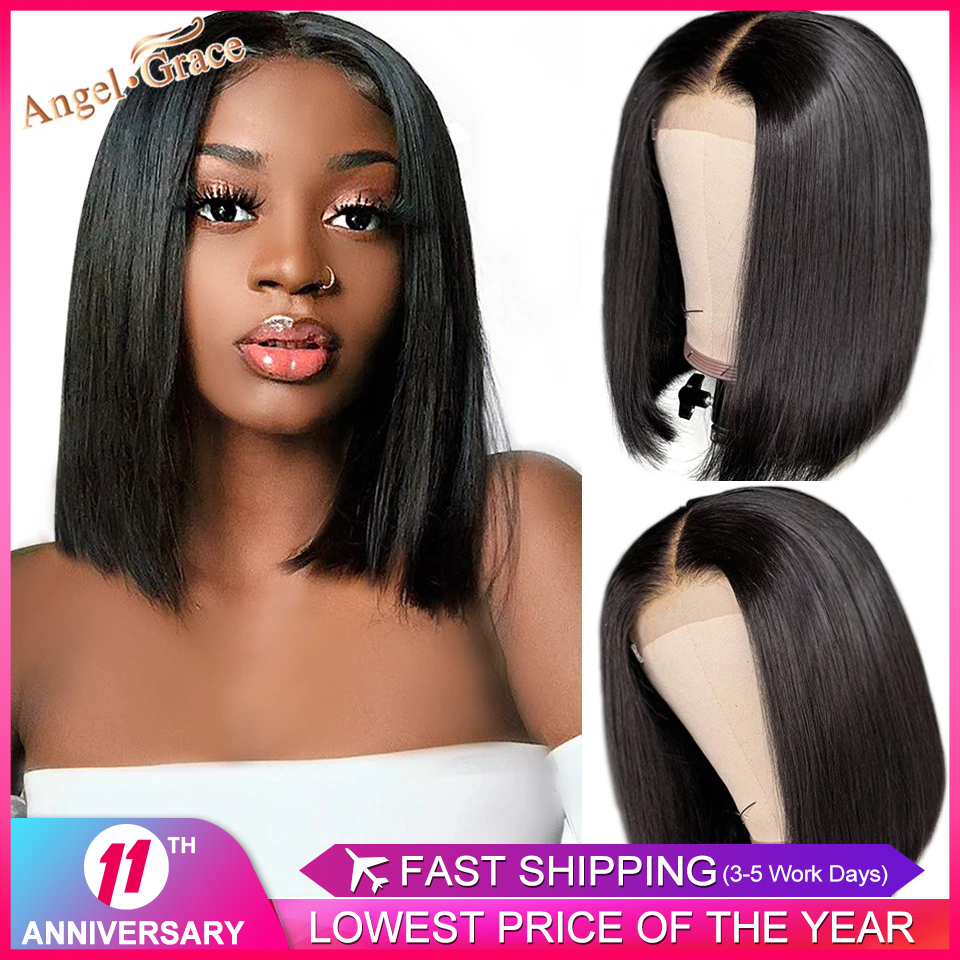Angel Grace 13x4 Bob Lace Front Wigs Short Bob Wig 4x4 Lace Closure Bob Wigs Remy Lace Front Human Hair Bob Wigs Pre Plucked