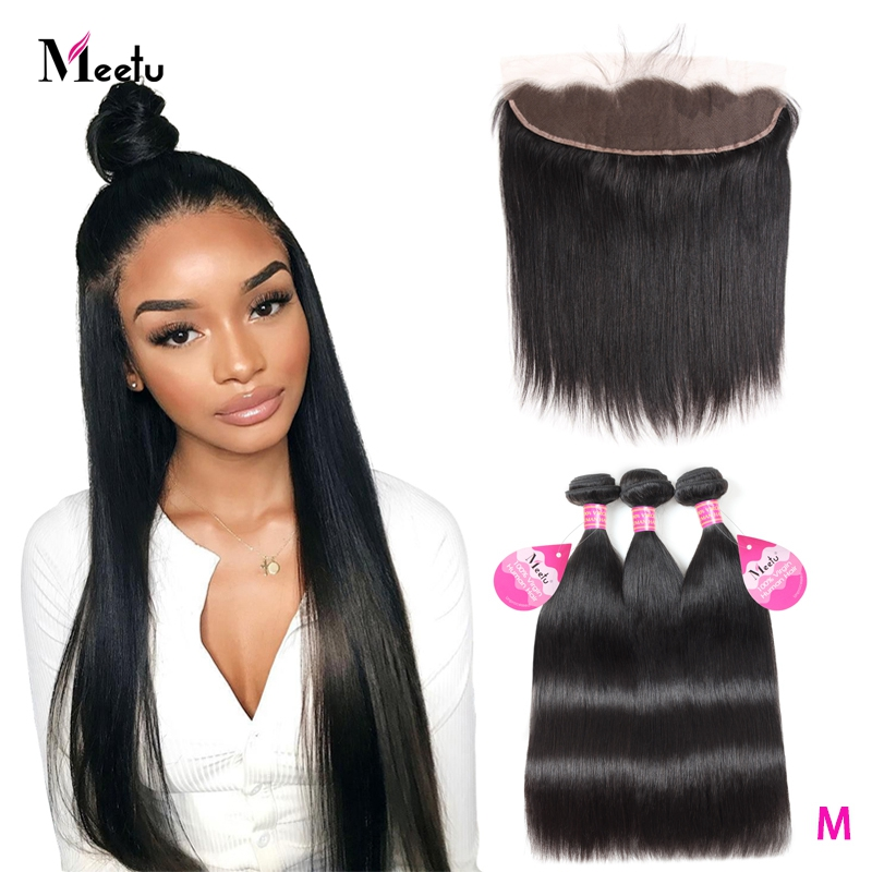 Meetu Straight Hair Bundles With Frontal Malaysian Hair Bundles With Frontal Human Hair Bundles With  Closure Frontal Non-Remy