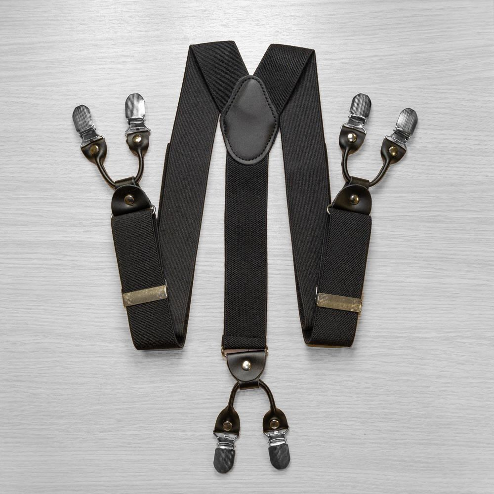 Suspenders For Trousers Wide (4 Cm, 6 Clips, Black) 53957