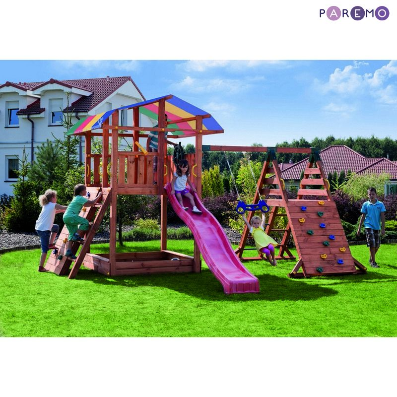 все цены на Set for game pad: children's house with a sandbox, awning, slide, swing and double rings онлайн