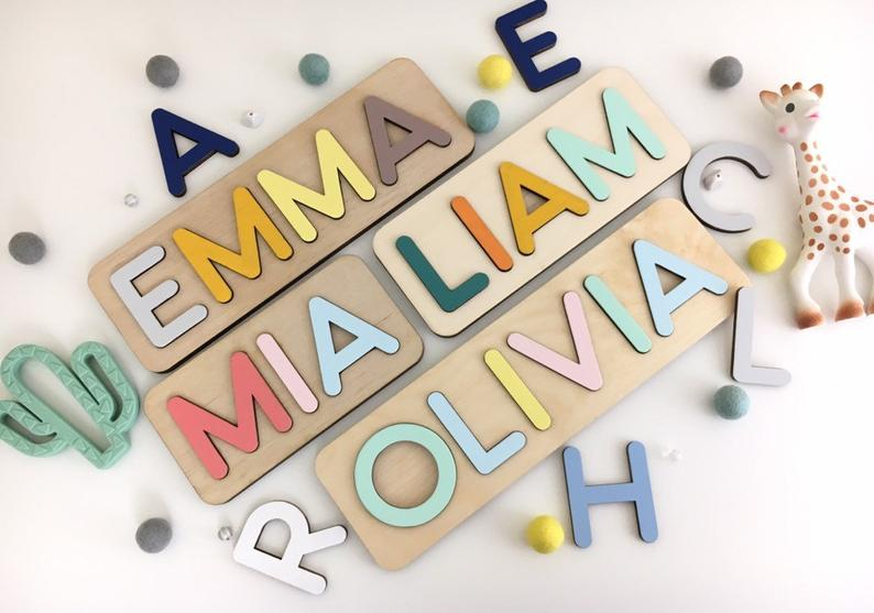 Personalized Name Puzzles For Toddlers 1 Year Old Girl Gift Montessori Wood Toys Newborn Boy Baptism Gift Baby Letter Puzzles