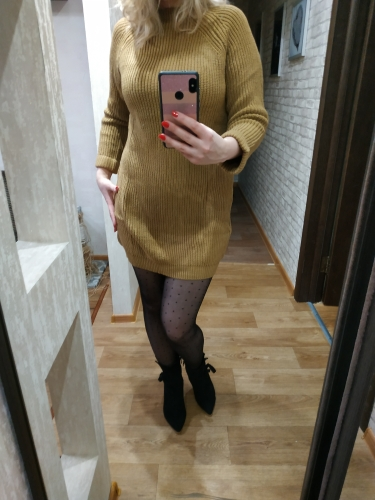 Autumn Winter Solid Knitted Cotton Sweater Dresses Women Fashion Loose O Neck Pullover Female Knitted Dress Vestidos Feminino photo review