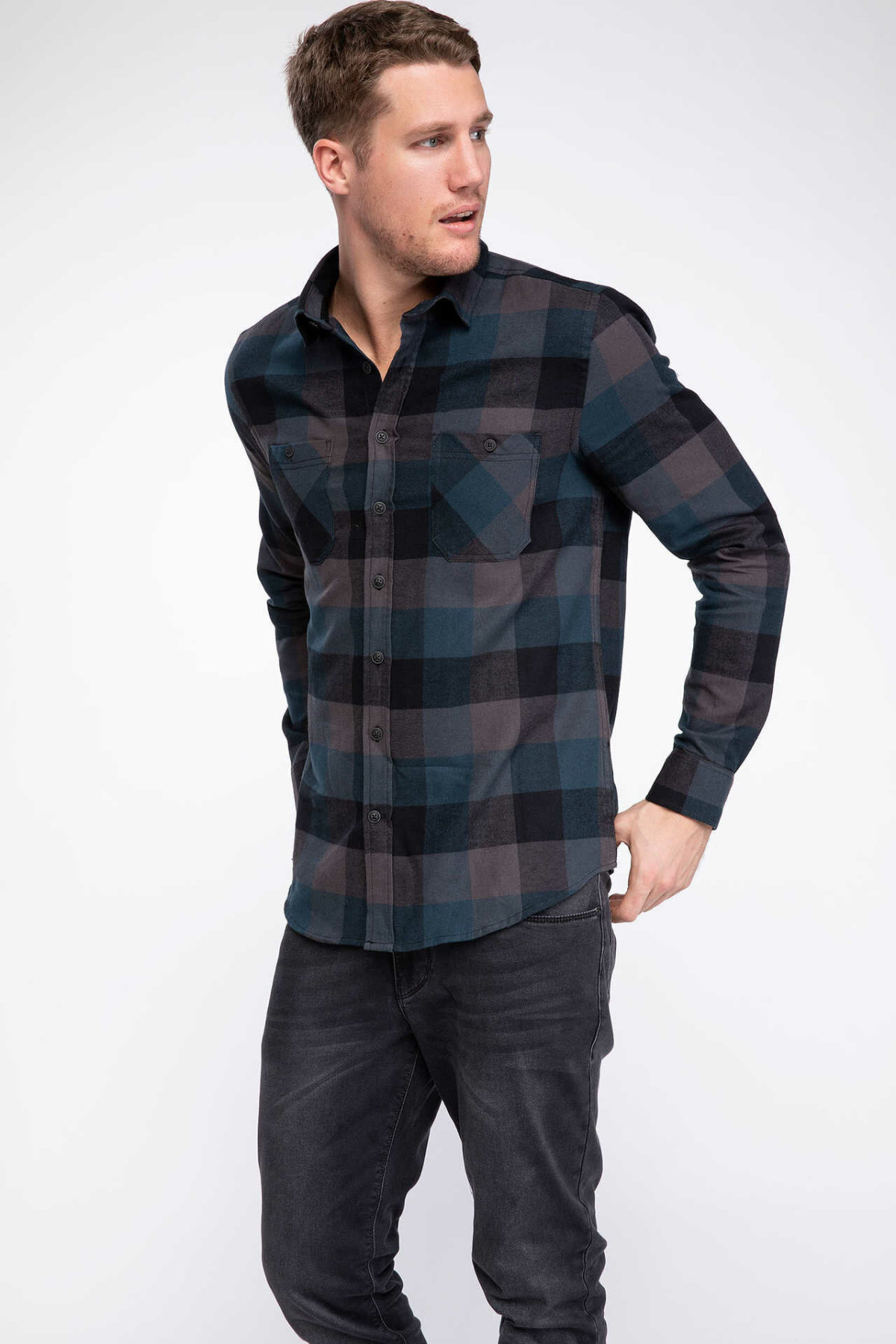 DeFacto Man Classic Red Black Plaid Long Sleeve Shirt Men's Grid Cotton Shirts Mixed Color Top Shirts Male Top Cloth-J0599AZ18WN