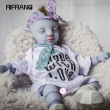 Rifrano 45cm bebe boneca renascer bonecas do bebê 100% silicone completo azul brinquedos para crianças brinquedos da criança menina de corpo inteiro reborn boneca