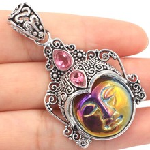 Free Shipping Amazing Freedom Goddess Face, Black Sapphire Silver Pendant