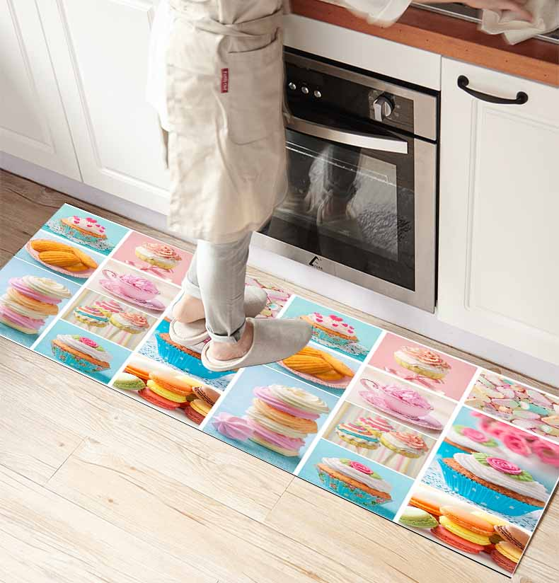Else Blue Pink Cup Cakes Sweets Patchwork 3d Print Non Slip Microfiber Kitchen Counter Modern Decorative Washable Area Rug Mat