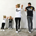 Family Matching Clothes Mother Father Daughter Son Kid Tshirt Family KING QUEEN Letter Printing Clothes Mommy and Me Top