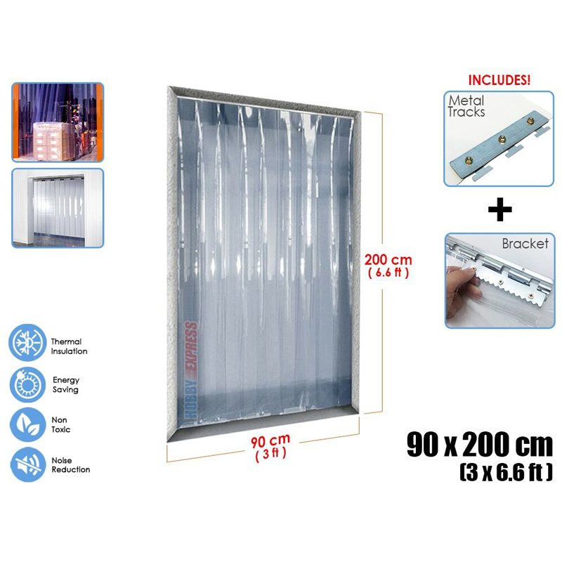 Arrowzoom 3 x 6.6 ft (90 cm x 200 cm) PVC Strip Plastic Curtain Warehouse Freezer Door Thermal Insulation 1 mm Thick KK1173