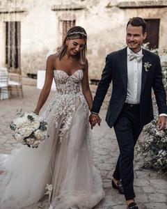 Image 5 - Beach Boho Wedding Dress 2020 Sweetheart Beaded Crystal Lace A Line Court Train Bridal Gowns Elegant Bohemian Bride Dresses