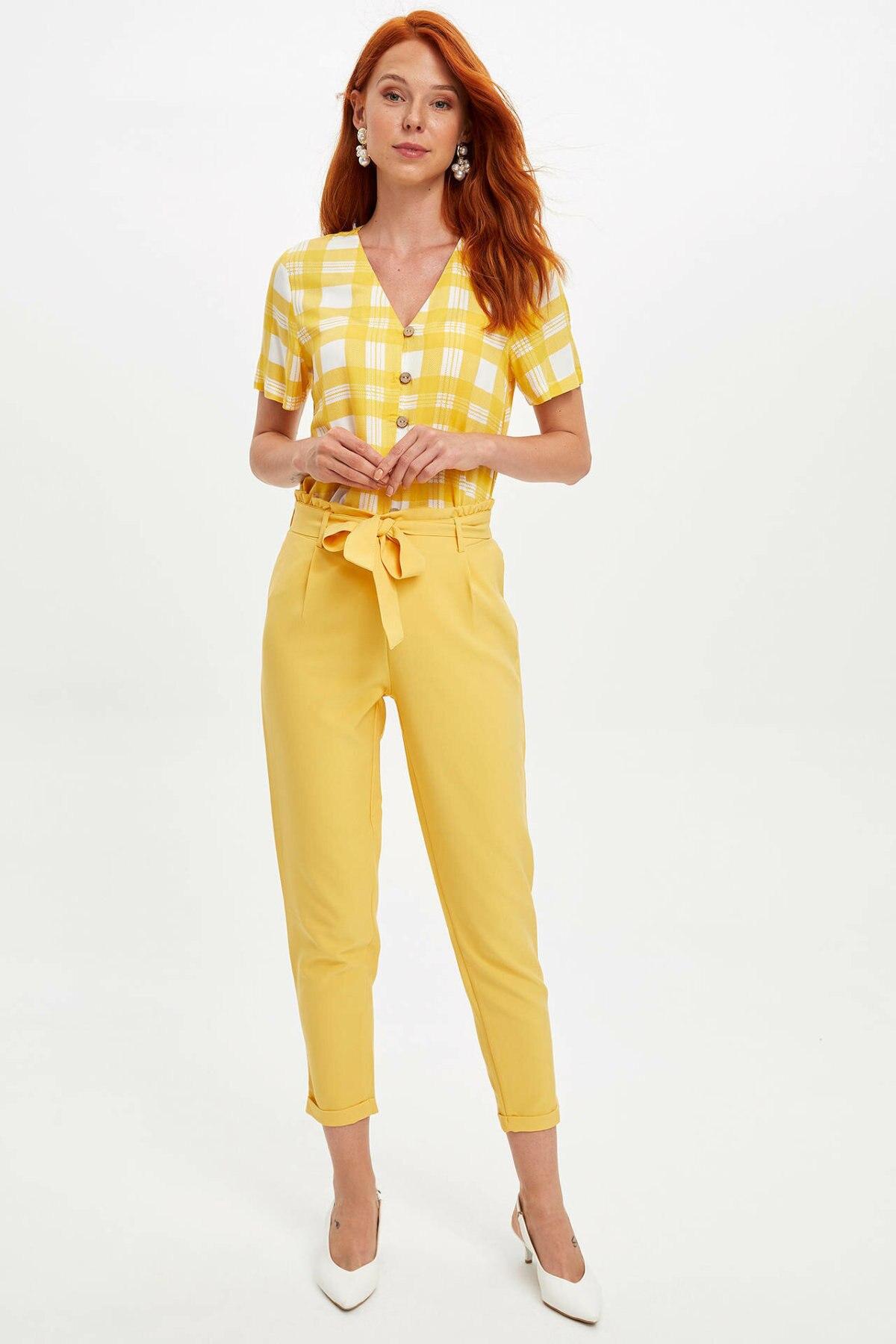 DeFacto Candy Color Women Long Pants Adjustable Bowknot Belt Woman Straight Pants Female Bottoms Trousers-L8440AZ19SM