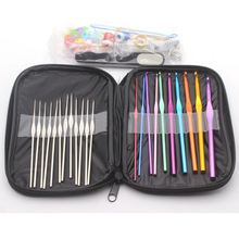 100 Pcs Crochet Hooks Set Premium Alumina Knitting Needles With Leather case packaging travel Weaving sewing tool accessories