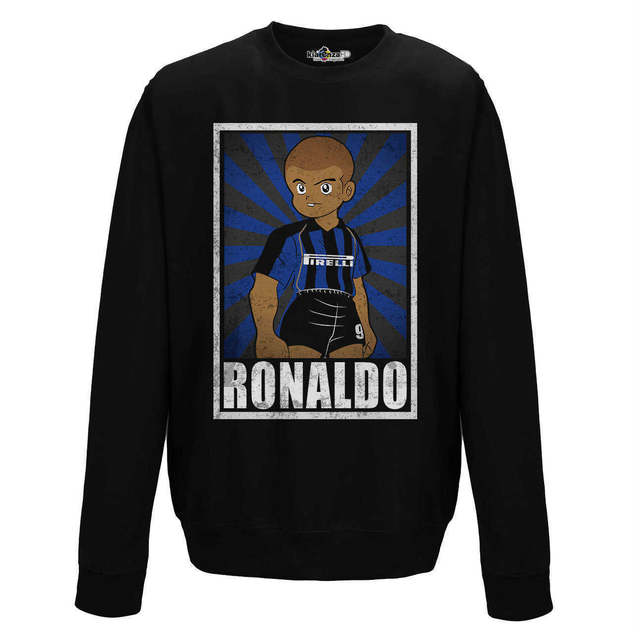 Crewneck Sweatshirt <font><b>Soccer</b></font> Vintage Ronaldo <font><b>Inter</b></font> <font><b>Milan</b></font> Legend Spoof Holly and Benji Grunge S image