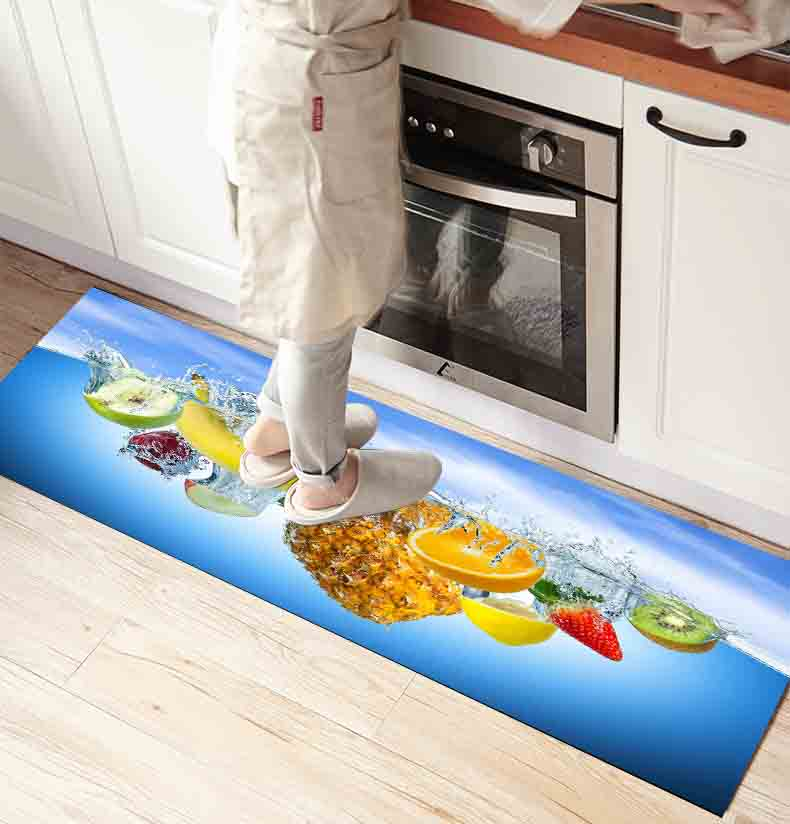 Else Blue Water In Fresh Fruits 3d Print Non Slip Microfiber Kitchen Counter Modern Decorative Washable Area Rug Mat