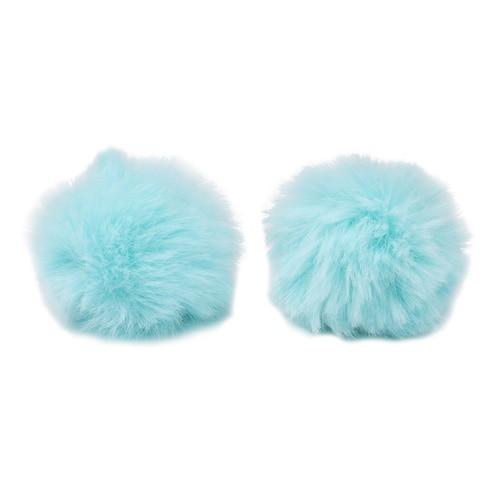 Pompon Made Of Artificial Fur (rabbit), D-6cm, 2 Pcs/pack (C St. Turquoise)