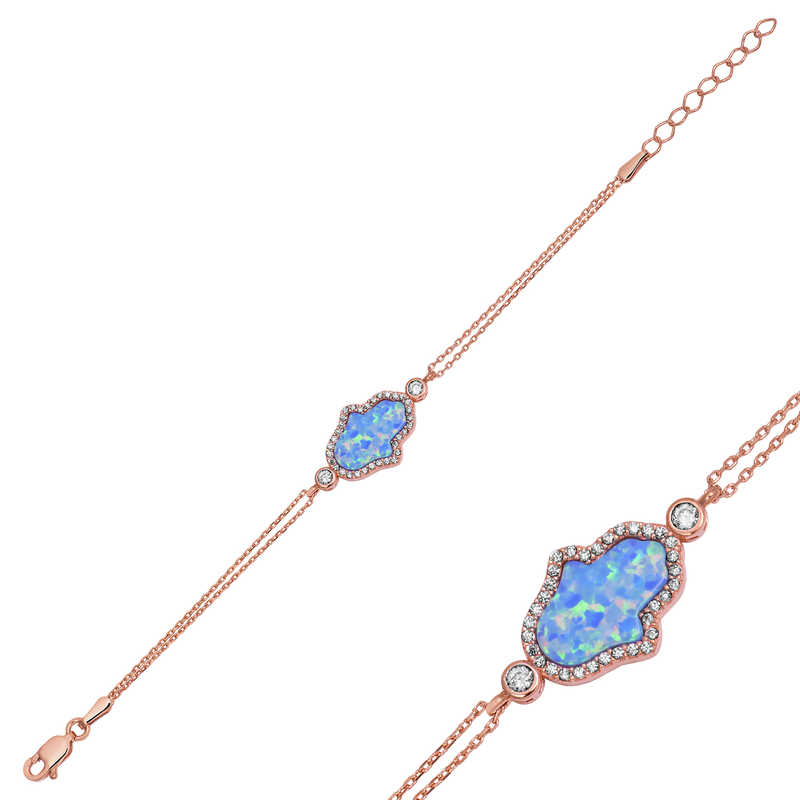 Armagano 100% 925 Sterling Silver Blue Opal Fatma Master Hand Womens Bracelet Quality and Original Women Wrist Straps