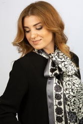 Made in Turkey %100 Pure Silk Scarf Shaw Black Authentic Turkish Patterned Women Long Scarves Neck Scarf Foulard Kerchief