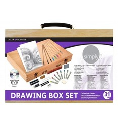 BRIEFCASE DALER ROWNEY WOOD DRAWING SET SIMPLY 31 PIECES