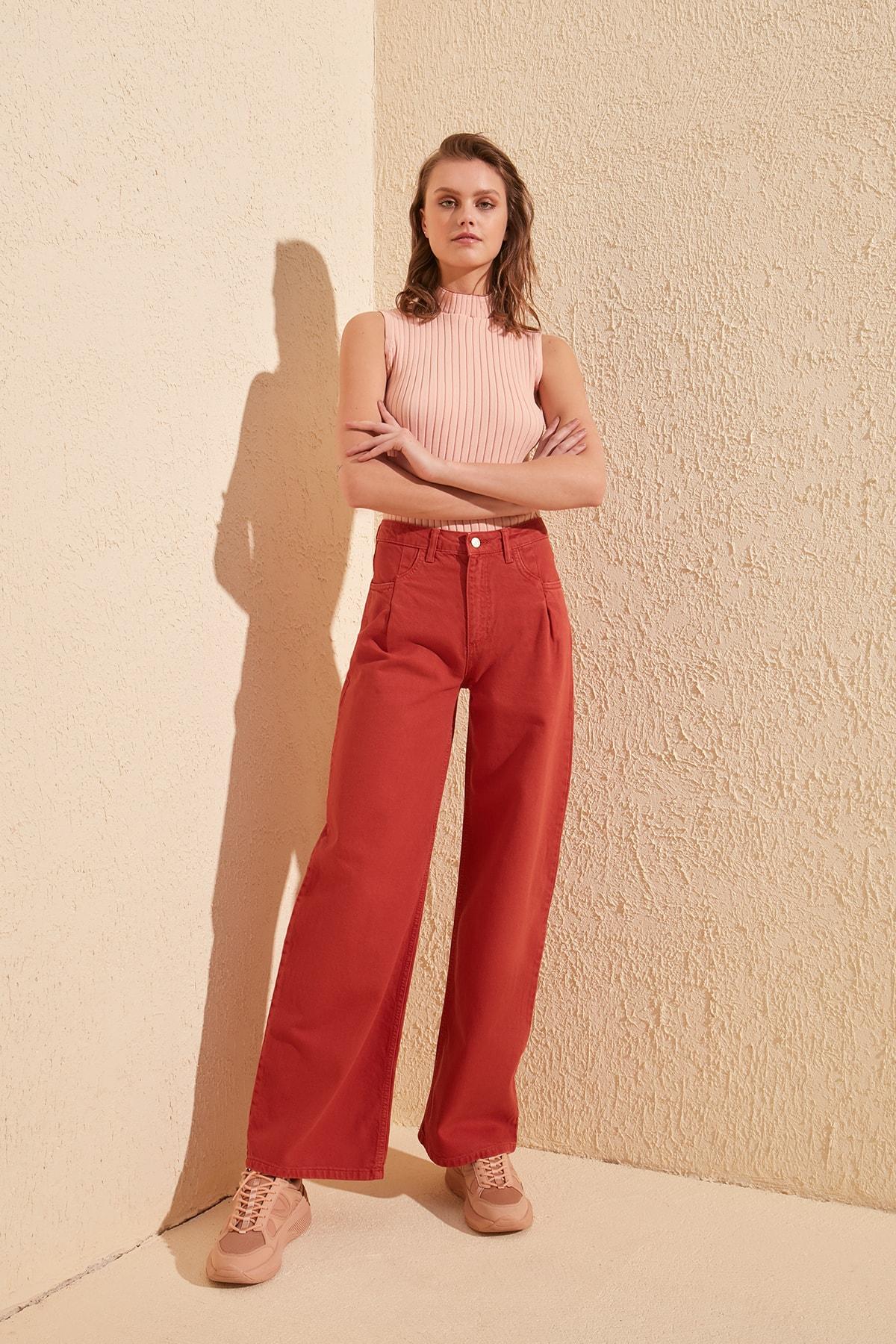 Trendyol Pleated High Waist Wide Leg Jeans TWOSS20JE0394
