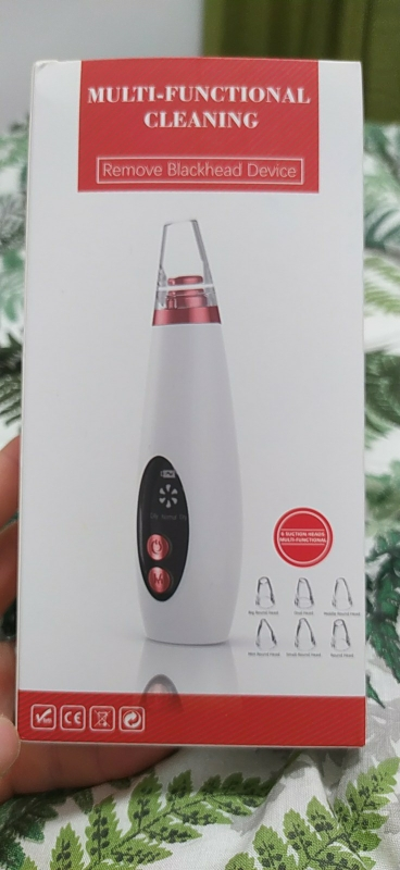 Limpiador de Poros Extractor Succionador de Puntos Negros Limpiador Facial USB Recargable con Pantalla LED 6 Cabezales Pulidores