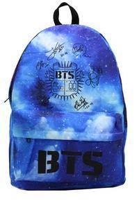 Bts Bag - Galaxy Bag - Blue Patterned Bts Bag - Junior Bag - School Bag-Signed Bag-Group-