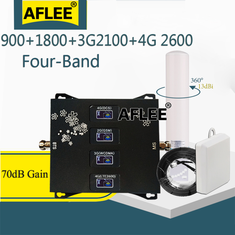 2020 New!!Four-Band 900 1800 2100 2600mhz CellPhone Cellular Amplifier 2g 3g 4g Mobile Signal Booster DCS WCDMA LTE GSM Repeater