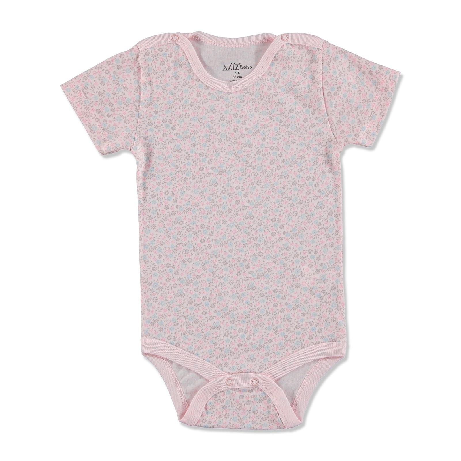 Ebebek Aziz Bebe Summer Baby Girl Flower Supreme Short Sleeve Bodysuit