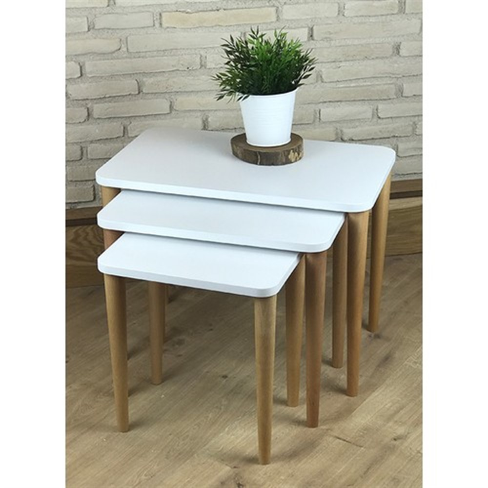 MADE IN TURKEY 3 Pieces Coffee Tables White Mini Modern Practical Durable Tea Tables Living Room Zigon Wood Home Accessories
