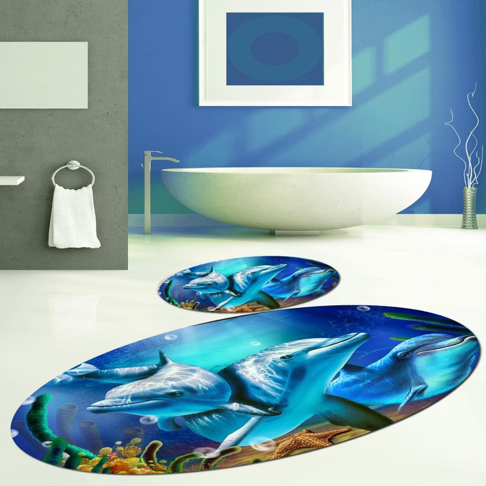 Else Blue ภายใต้ทะเลว่ายน้ำปลาโลมาปลารูปไข่ 2 Pcs 3D รูปแบบพิมพ์เสื่ออาบน้ำ Anti SLIP Soft Washable ห้องน้ำเสื่อห้อ...