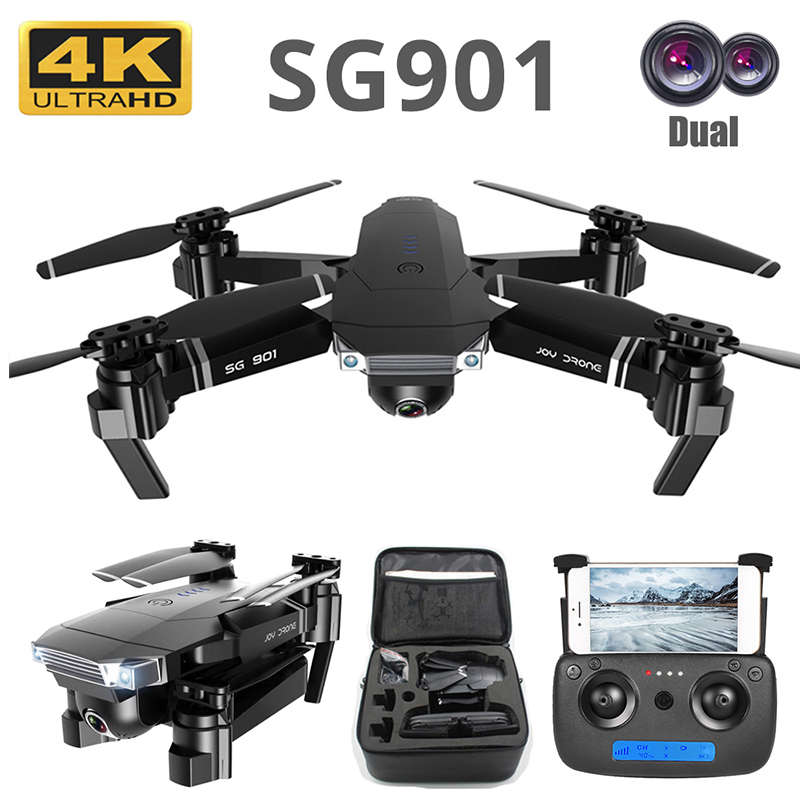 Drone 4K SG901 Cool Quadcopter 2 Camera Stable Gimbal Altitude Hold 4096x3072P 2048 1080P HD Gift Kids Uav 2 4G 4CH 6-Axis dron